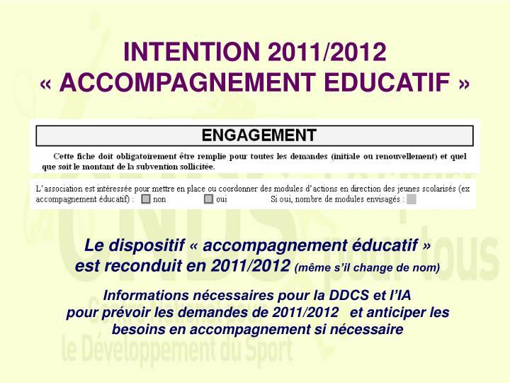 INTENTION 2011/2012