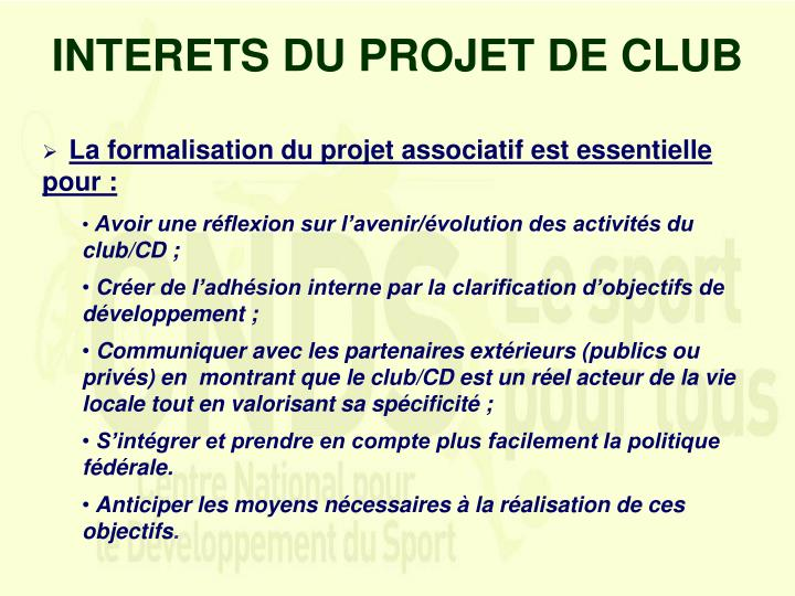 INTERETS DU PROJET DE CLUB