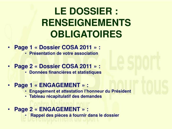 LE DOSSIER :