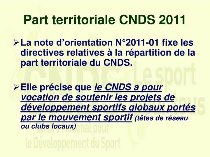 Part territoriale CNDS 2011