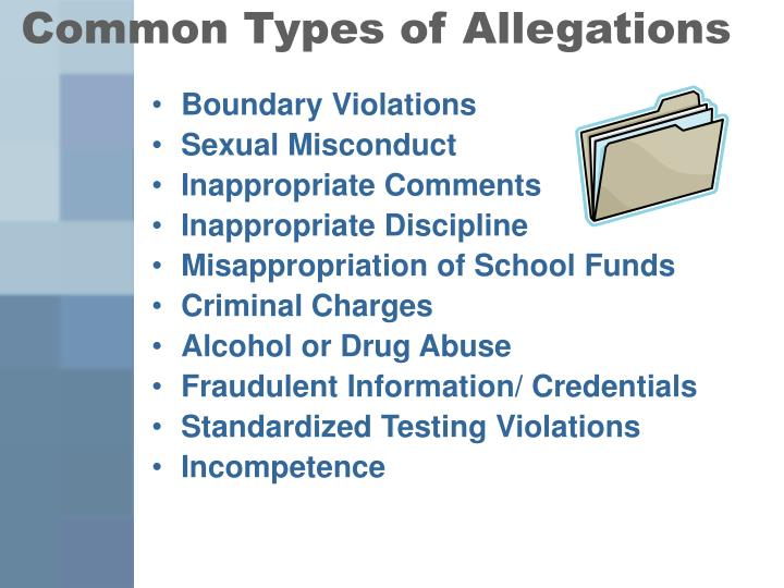 Common Types of Allegations