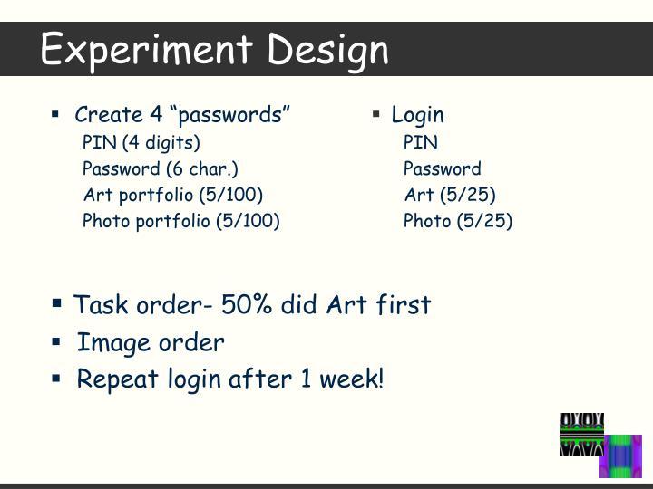"Create 4 ""passwords"""