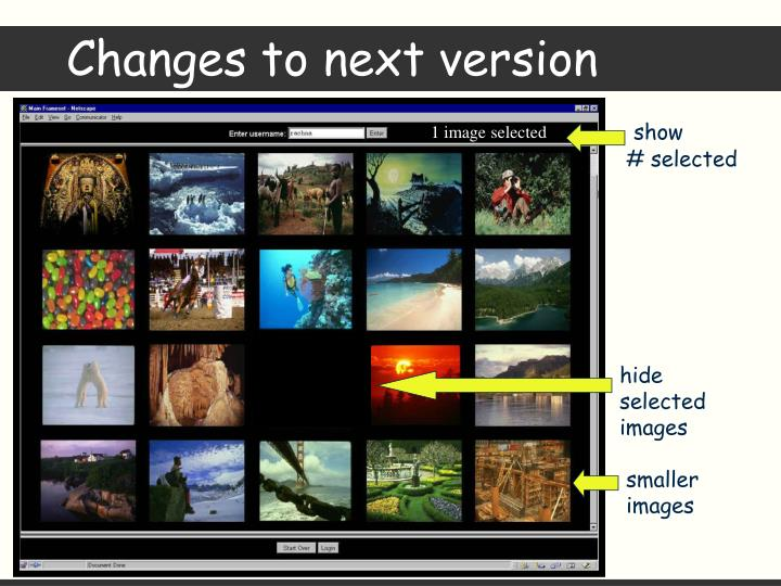 Changes to next version
