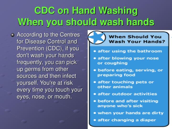 CDC on Hand Washing