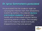 dr ignaz semmelweis postulated