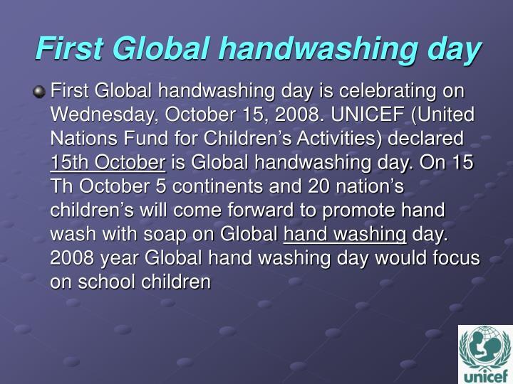 First global handwashing day