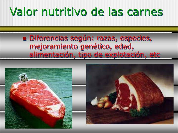 Valor nutritivo de las carnes1