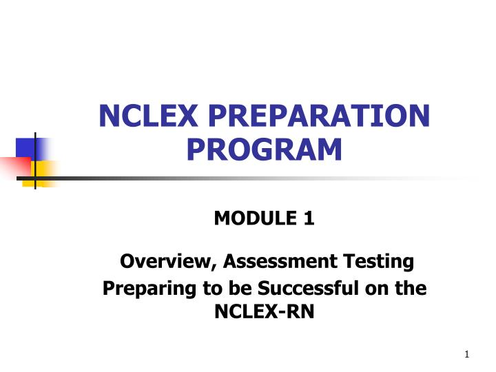 module 1 overview assessment testing preparing to be successful on the nclex rn n.