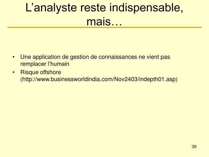 L'analyste reste indispensable, mais…