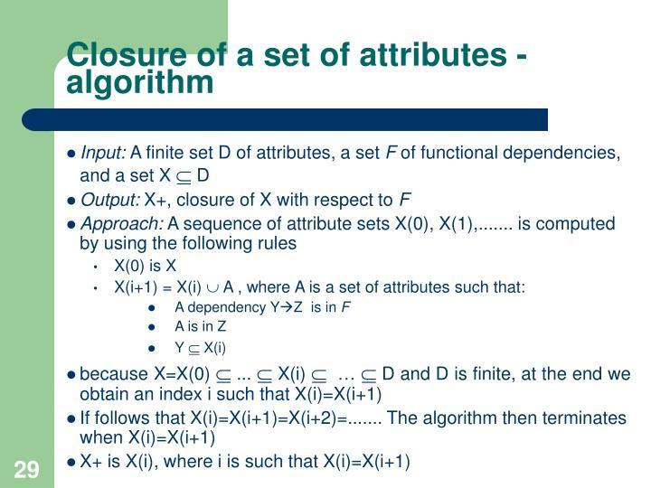 Closure of a set of attributes - algorithm