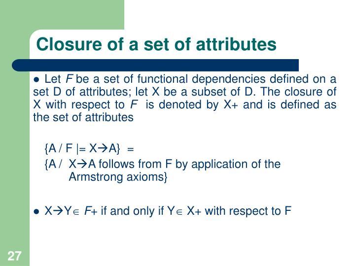 Closure of a set of attributes
