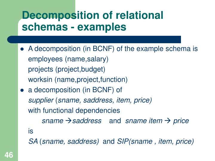 Decomposition of relational schemas - examples