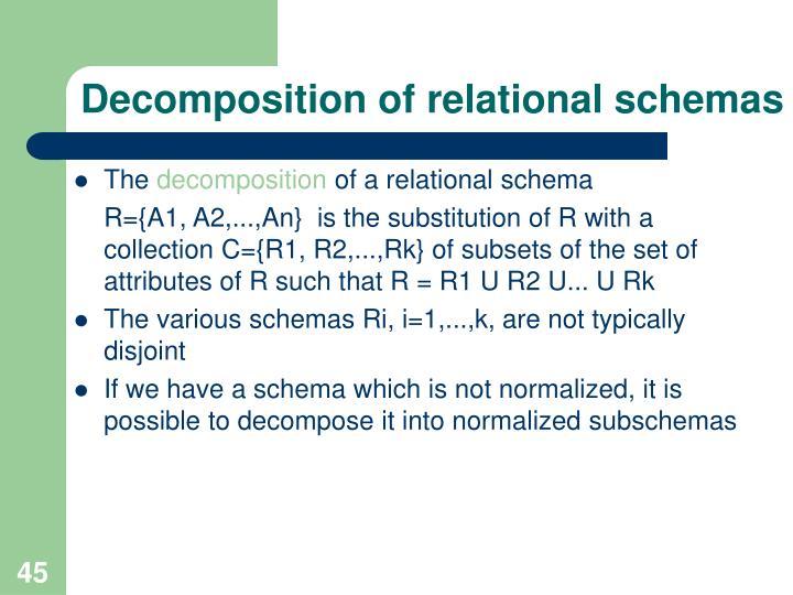 Decomposition of relational schemas