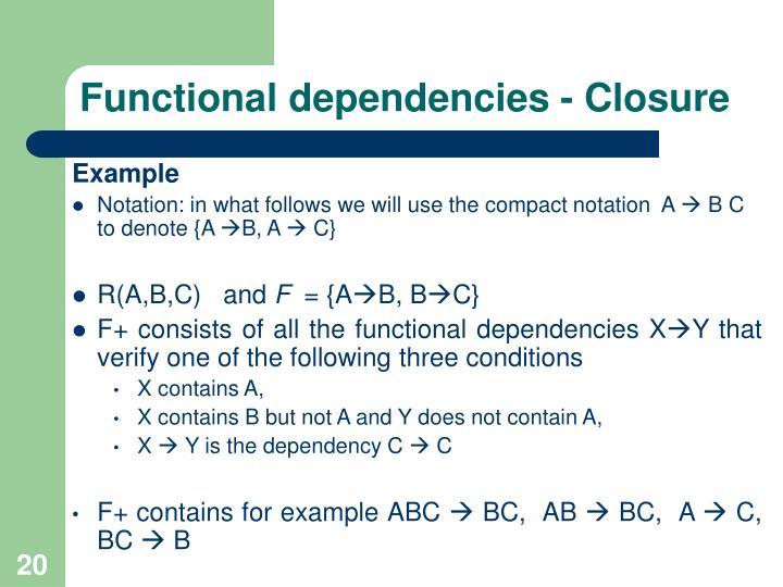 Functional dependencies - Closure