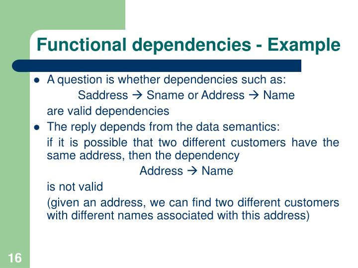 Functional dependencies - Example