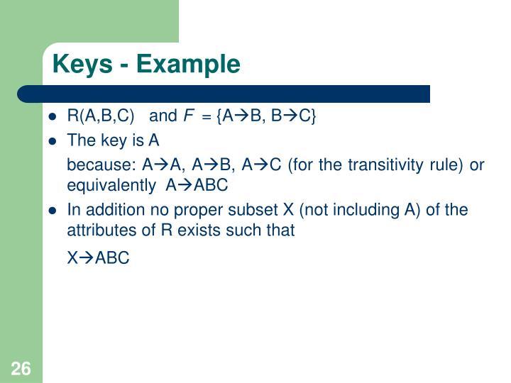 Keys - Example