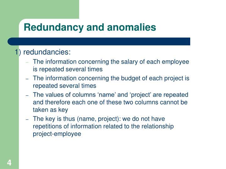 Redundancy and anomalies