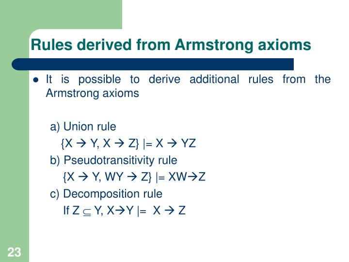 Rules derived from Armstrong axioms
