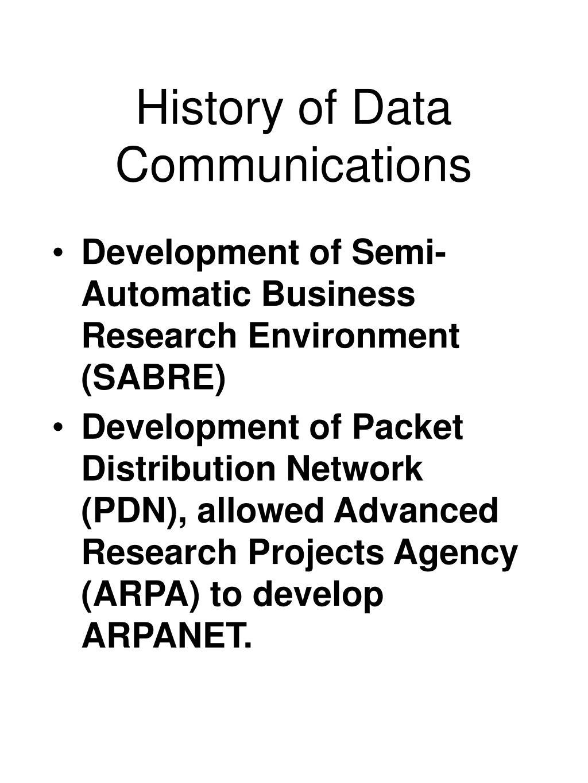 History of Data Communications