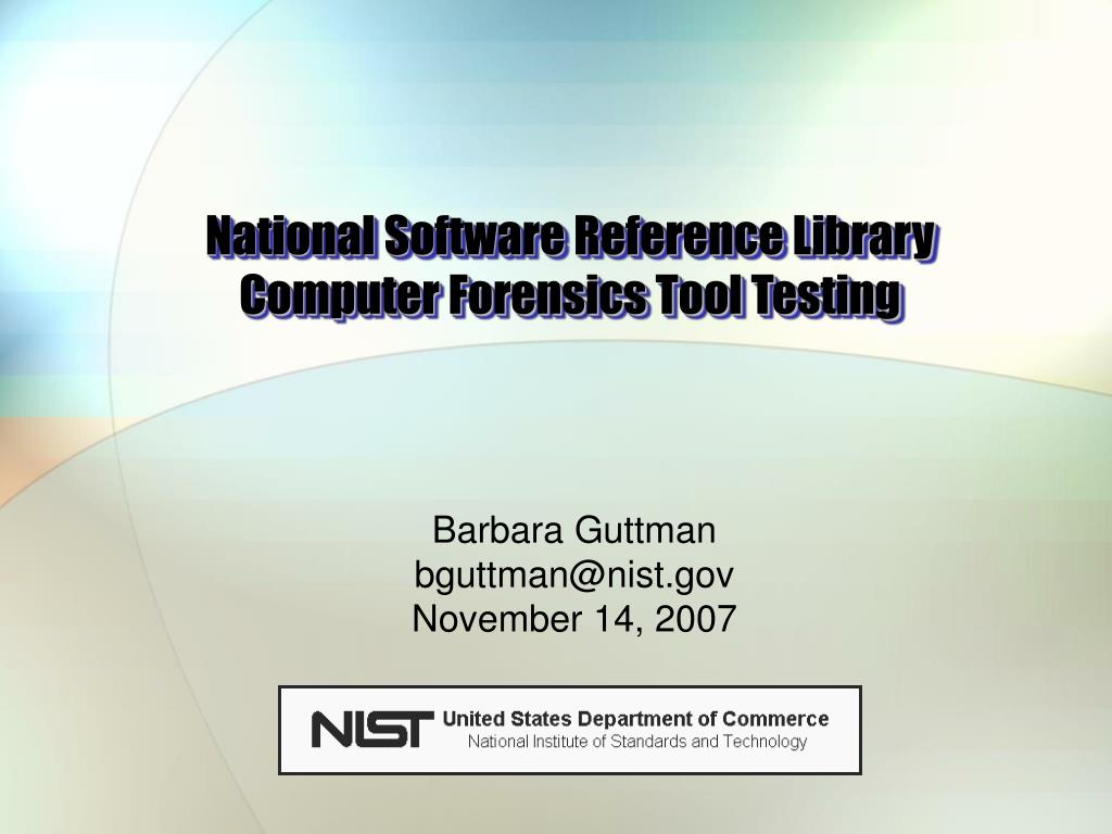 national software reference library computer forensics tool testing l.