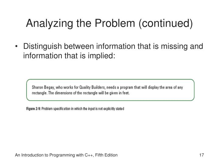 Analyzing the Problem (continued)