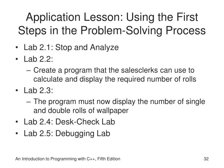 Application Lesson: Using the First Steps in the Problem-Solving Process