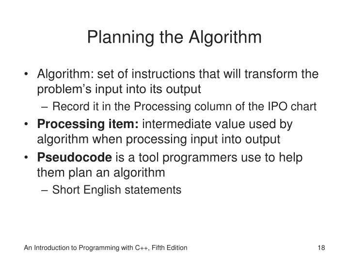 Planning the Algorithm