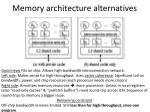 memory architecture alternatives