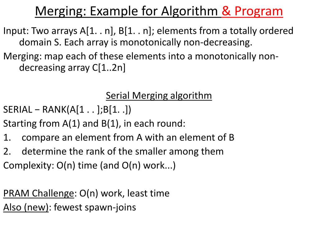 Merging: Example for Algorithm