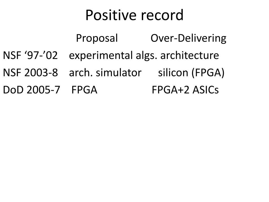 Positive record