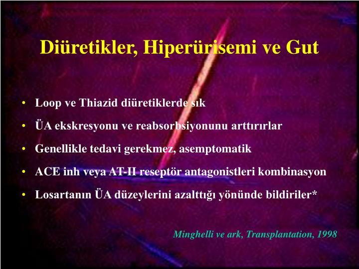 Diüretikler, Hiperürisemi ve Gut