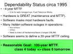 dependability status circa 1995