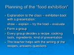 planning of the food exhibition