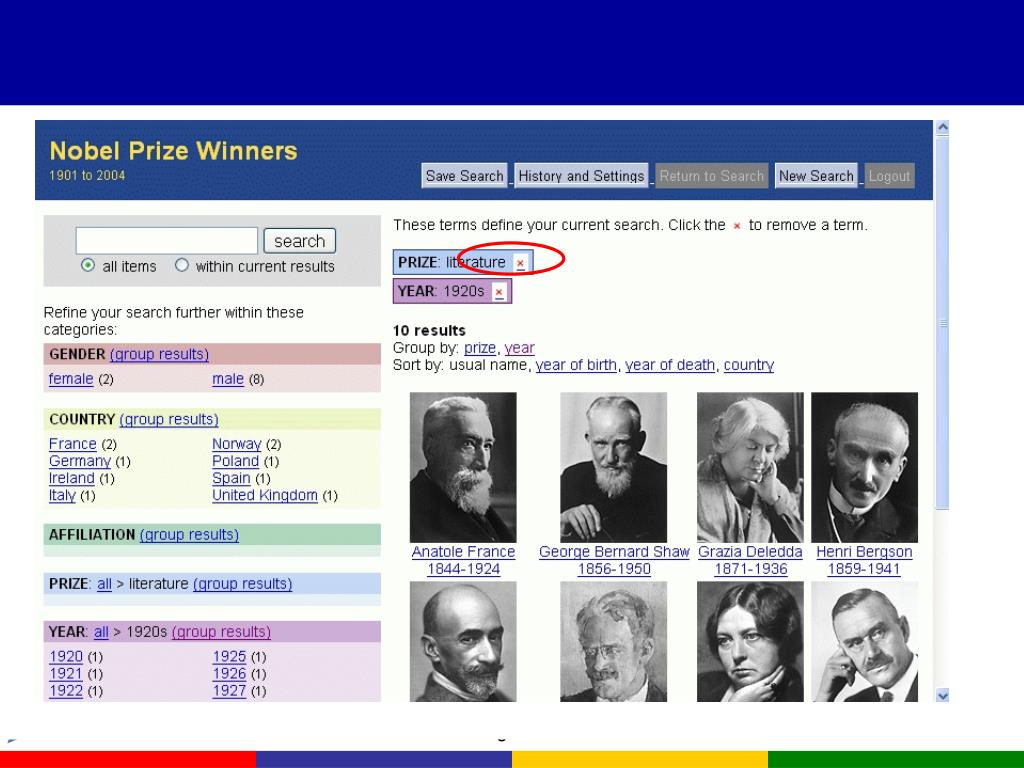 Current query is PRIZE > literature AND