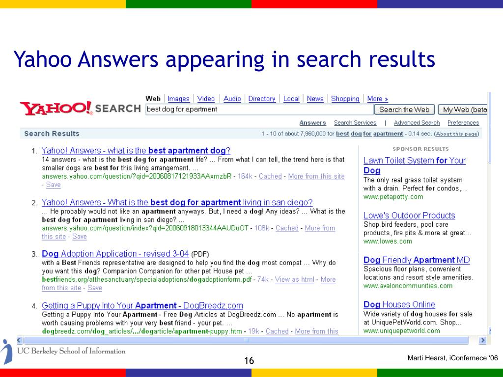 Yahoo Answers appearing in search results