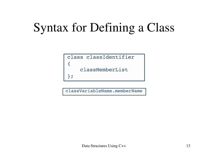 Syntax for Defining a Class