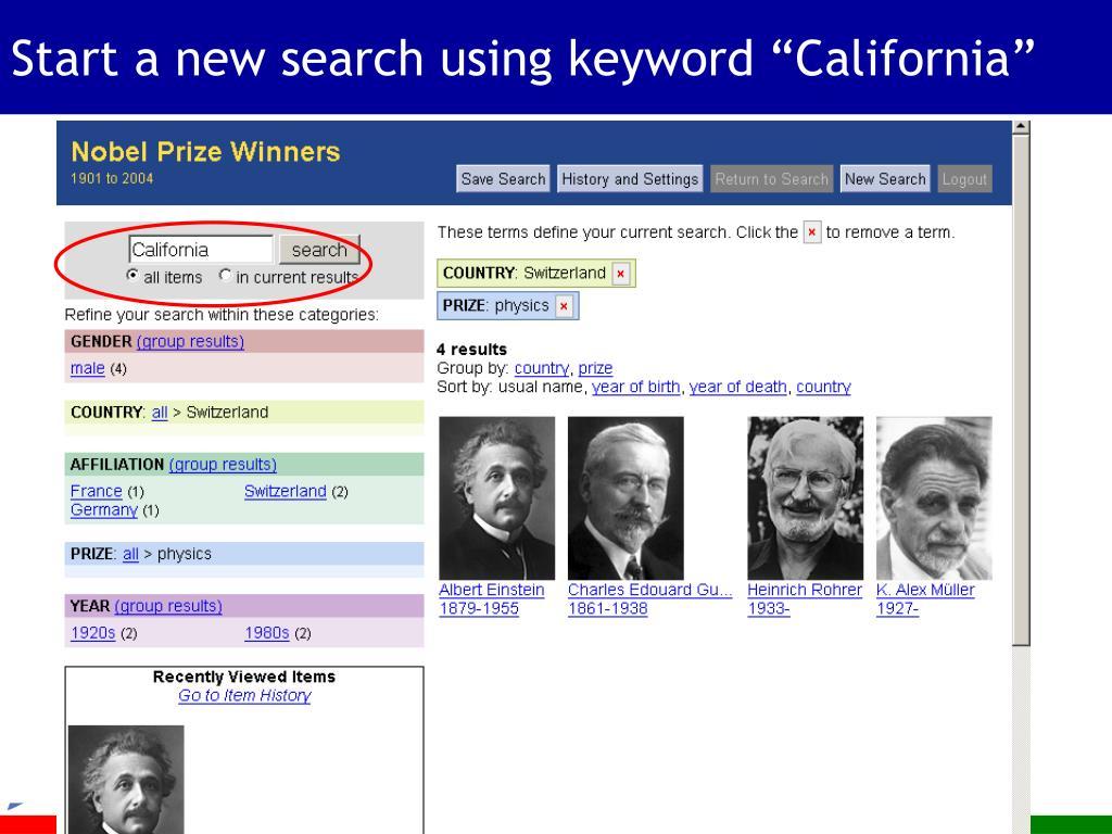 "Start a new search using keyword ""California"""