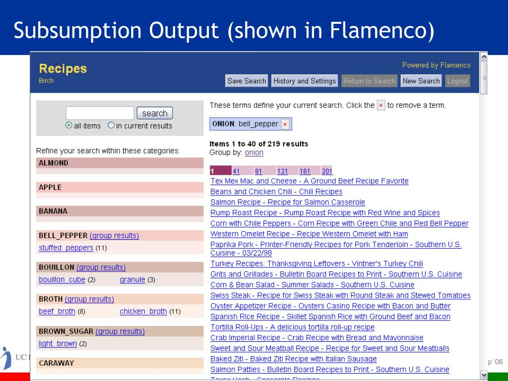 Subsumption Output (shown in Flamenco)