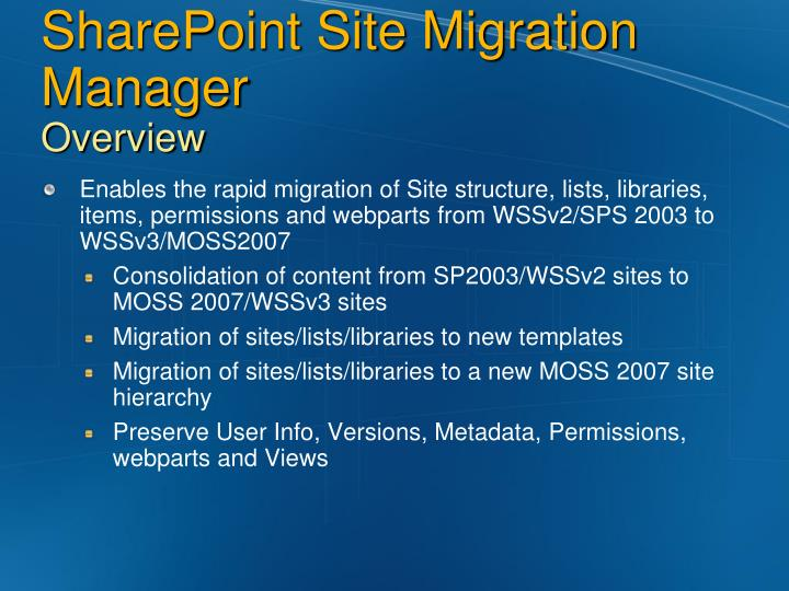 ppt metalogix sharepoint site migration manager. Black Bedroom Furniture Sets. Home Design Ideas