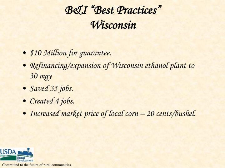 """B&I """"Best Practices"""""""