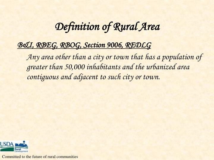 Definition of Rural Area