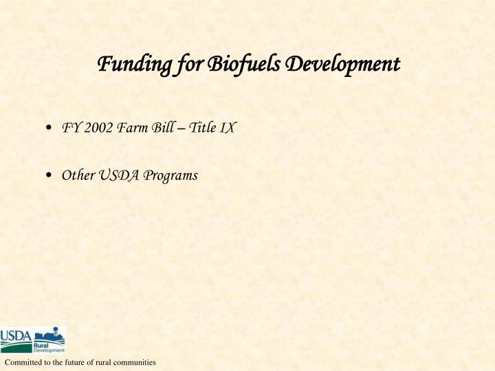 Funding for Biofuels Development