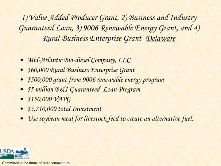 1) Value Added Producer Grant, 2) Business and Industry Guaranteed Loan, 3) 9006 Renewable Energy Grant, and 4) Rural Business Enterprise Grant -