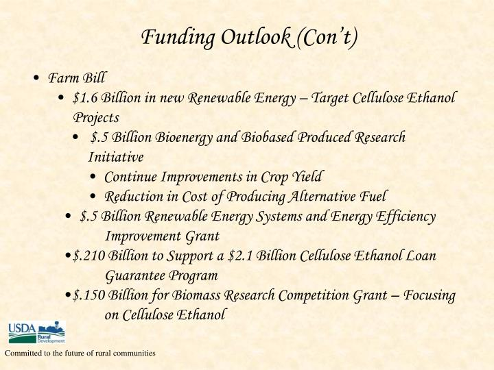 Funding Outlook (Con't)
