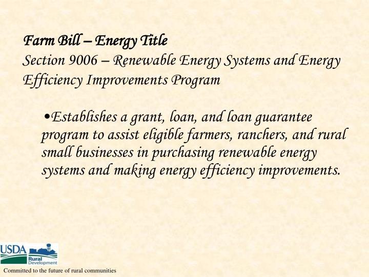 Farm Bill – Energy Title