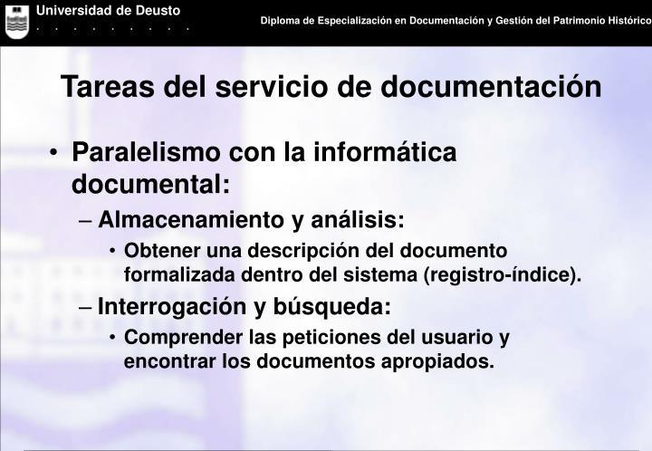Tareas del servicio de documentación