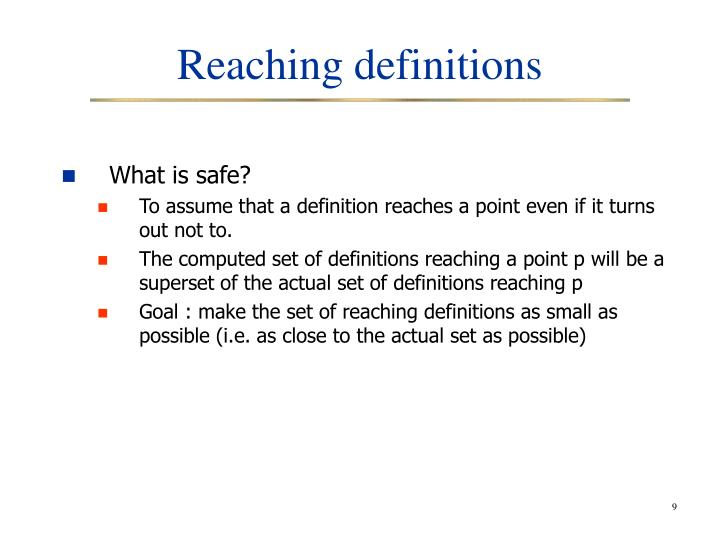 Reaching definitions