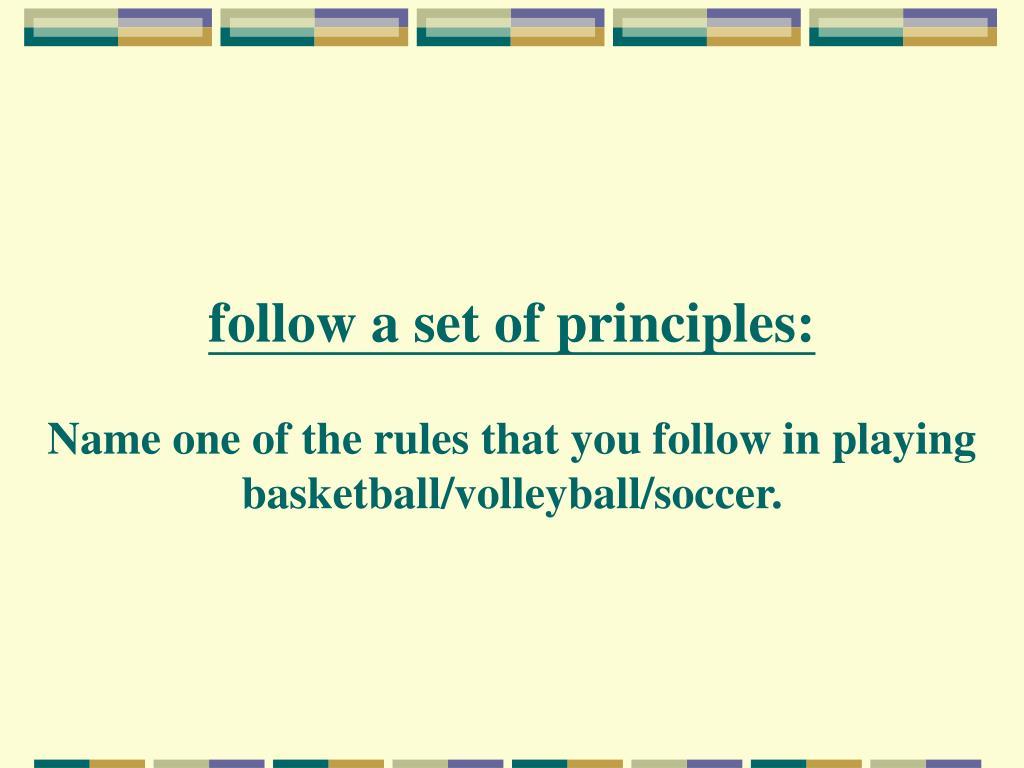 follow a set of principles: