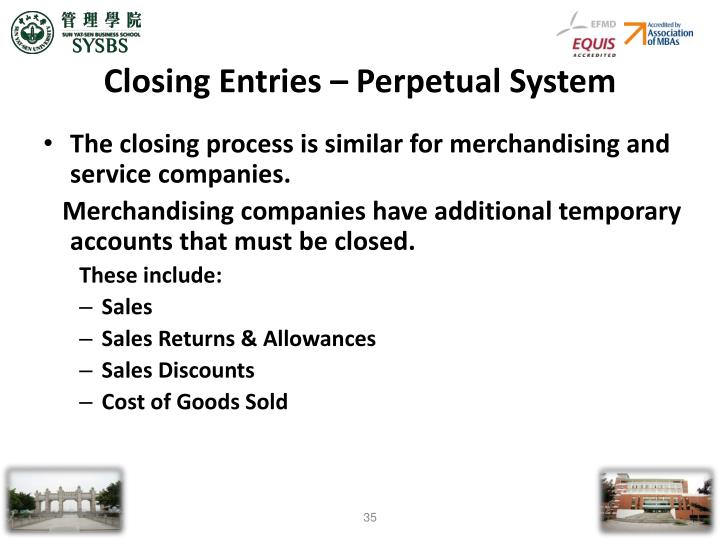 Closing Entries – Perpetual System