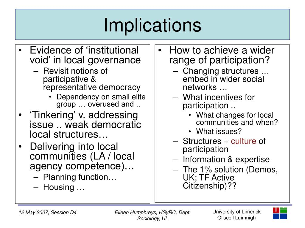 Evidence of 'institutional void' in local governance